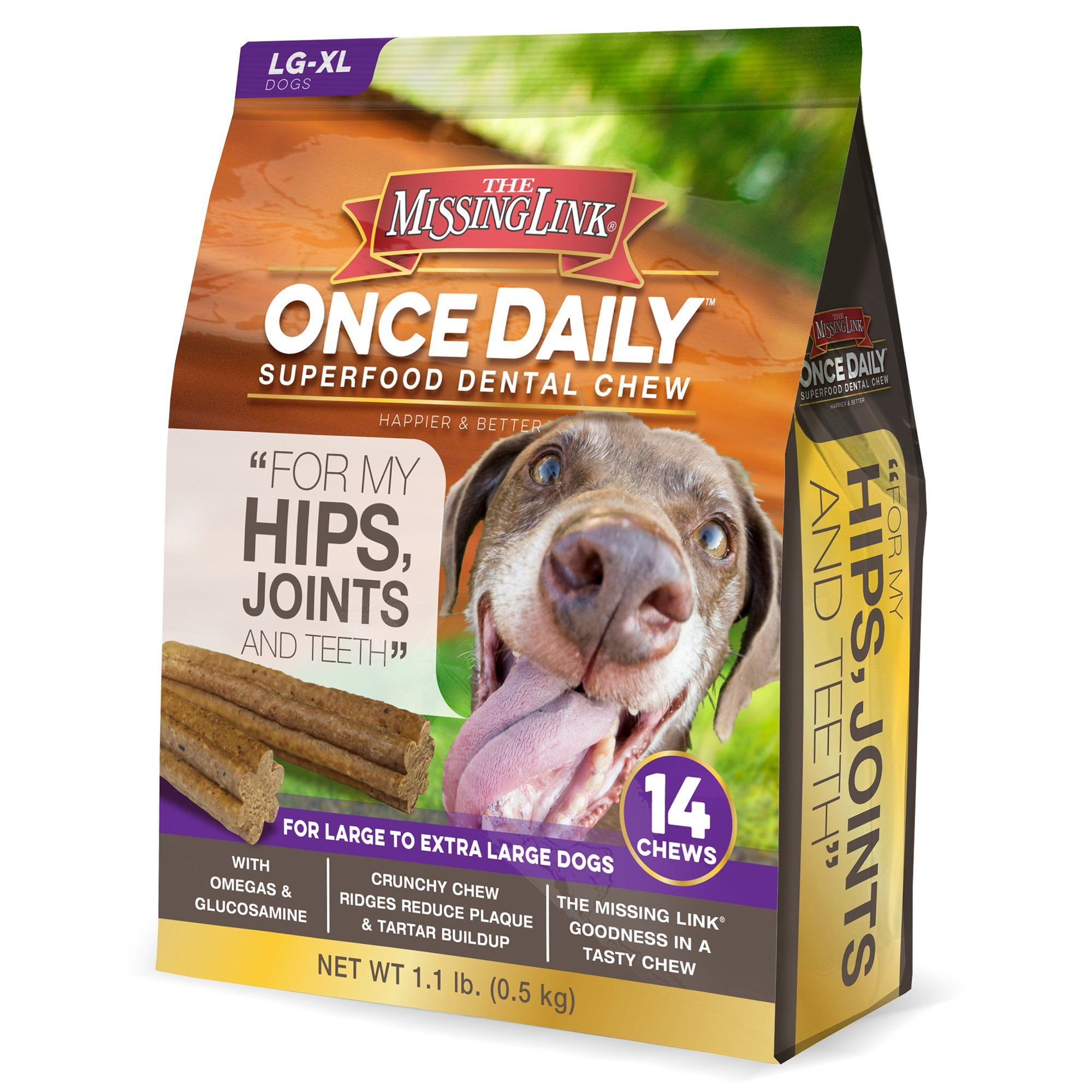 The Missing Link Once Daily Dental Chew Joint Formula For Large Extra Large Dogs Count Of 14 1 Lb Dental Happy Dental Large Dogs