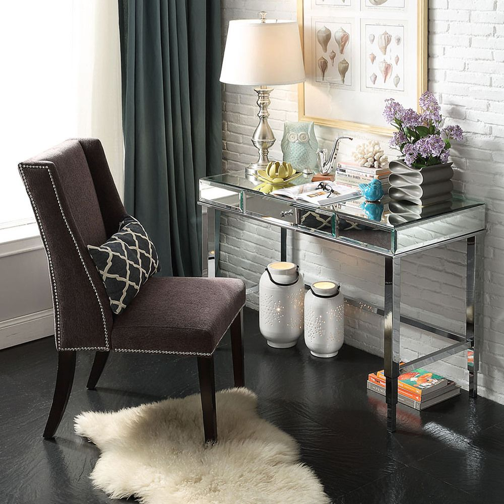 Small Living Space, Huge Style! We Love This Glamorous Mirrored Desk For A  Home Good Looking