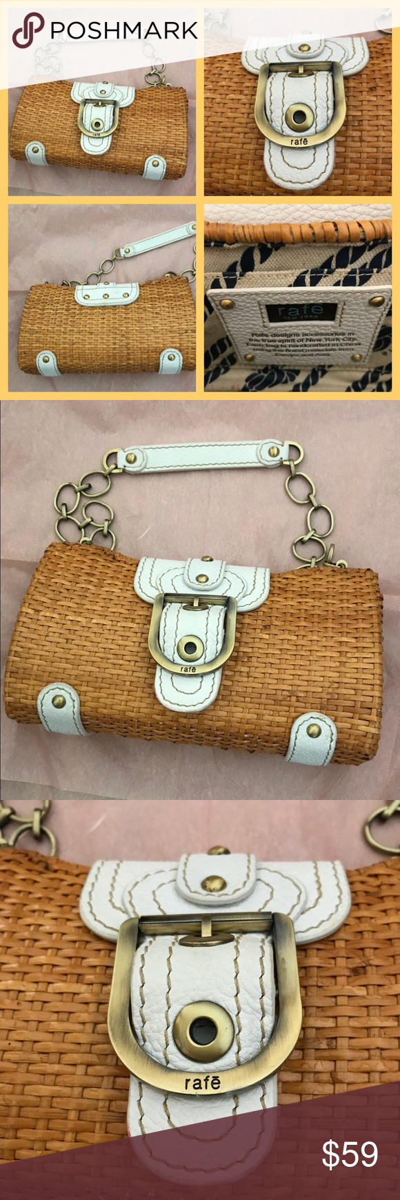 """315d858349 Authentic Rafe NY bag just added! This is a rare wicker and leather bag by  Rafe. It measures 9"""" L x 5"""" H x 2 1 2"""" D. Leather and chain strap has ..."""