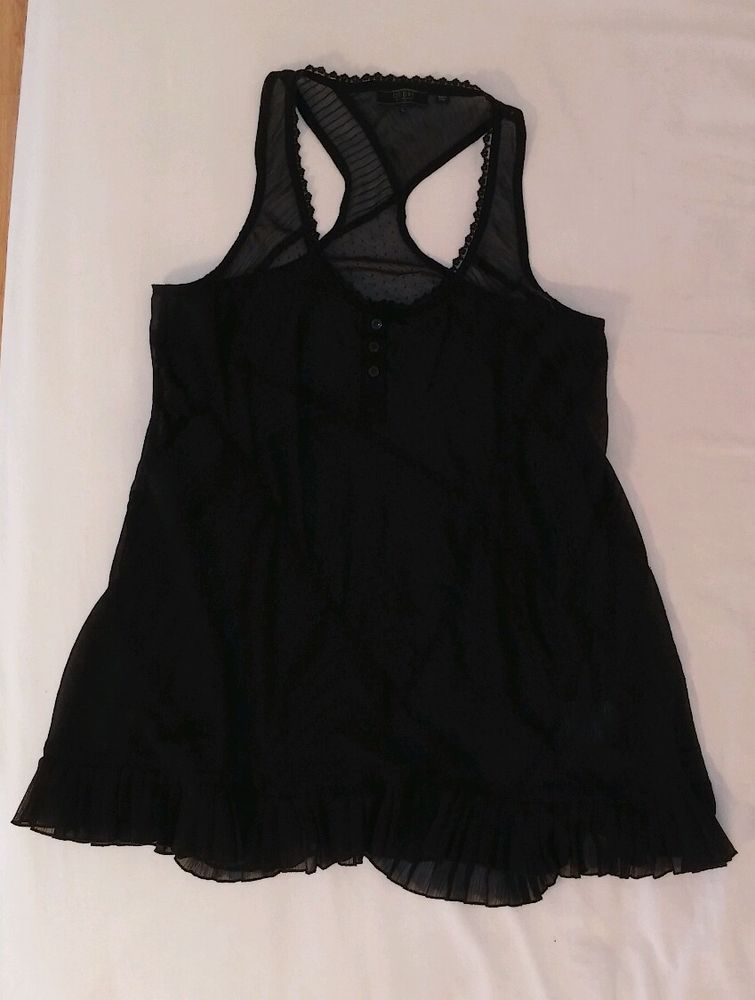 Guess Sheer Black Tunic Top Ruffles Lace Polka Dots Sleeveless Long Shirt L #GUESS #Tunic #EveningOccasion