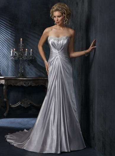 Silver wedding dresses silver scoop strapless beaded for Silver beaded wedding dress