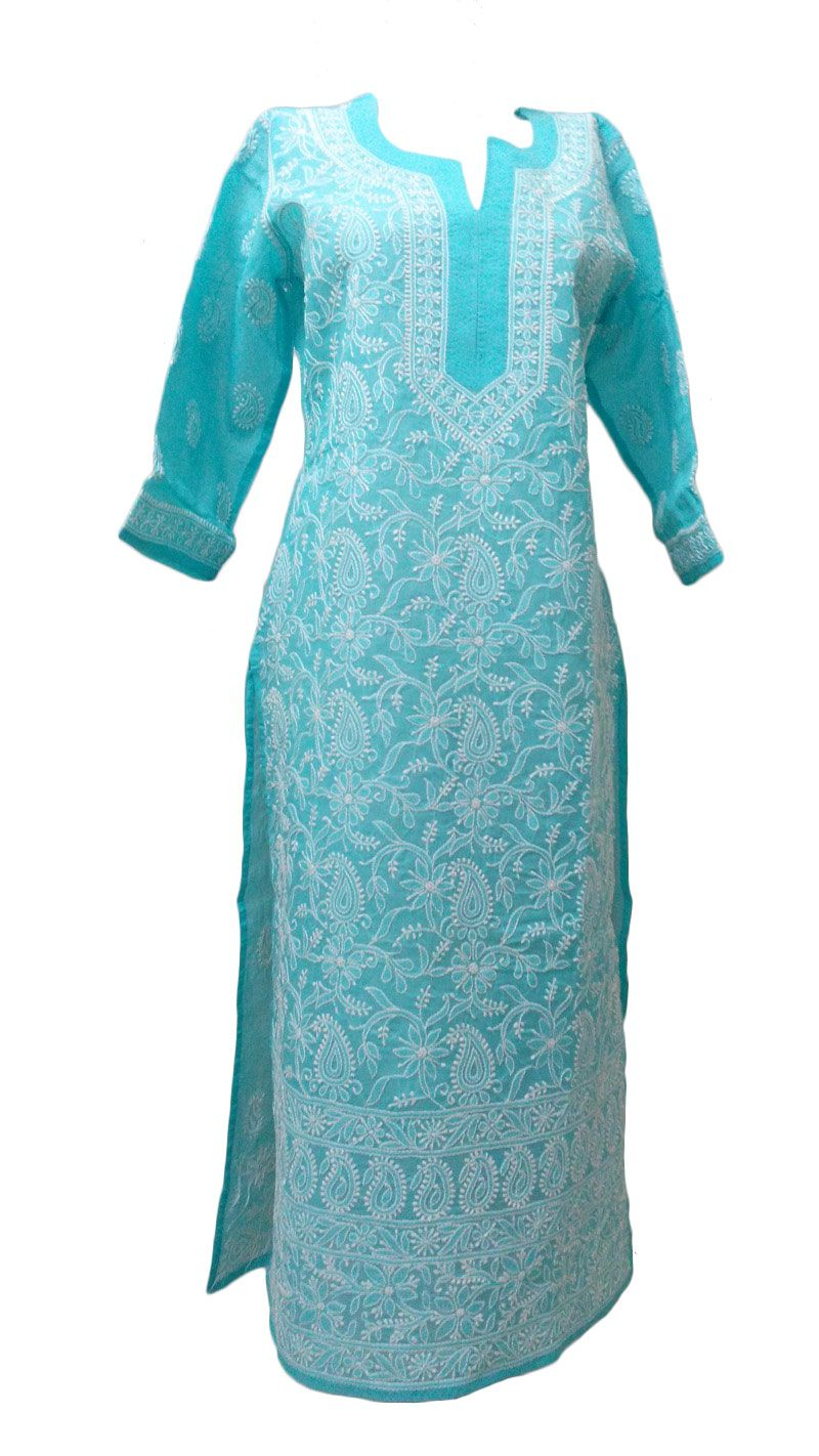 810cad2869 Cotton Pakistani Style Lucknow Chikankari embroidered Kurta Tunic Kurti