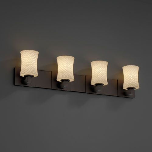 Fusion Modular Four-Uplight Halogen Matte Black Bath Fixture - (In Matte Black)
