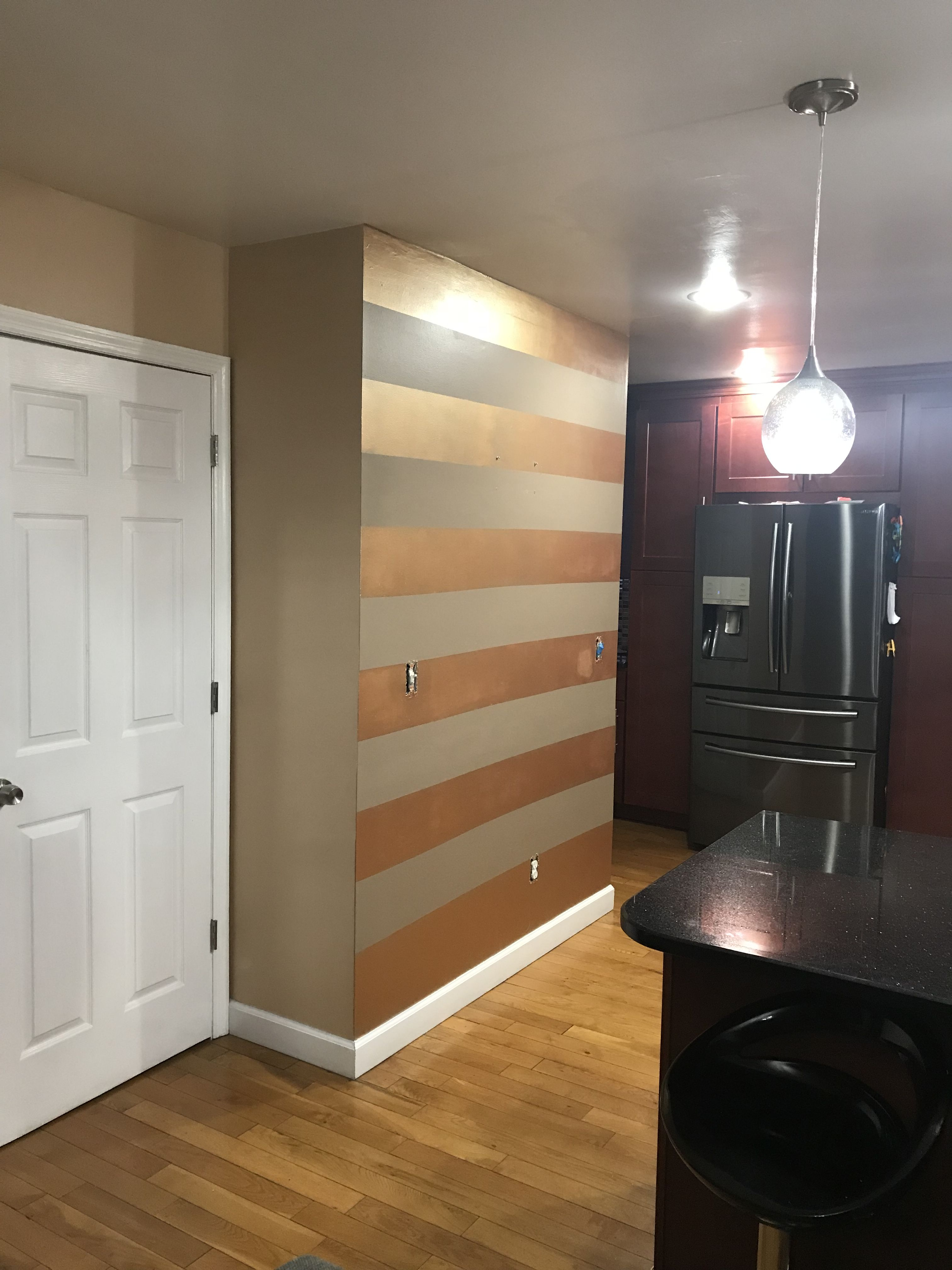 Metallic Copper Wall Stripes For Kitchen Accent Wall Family