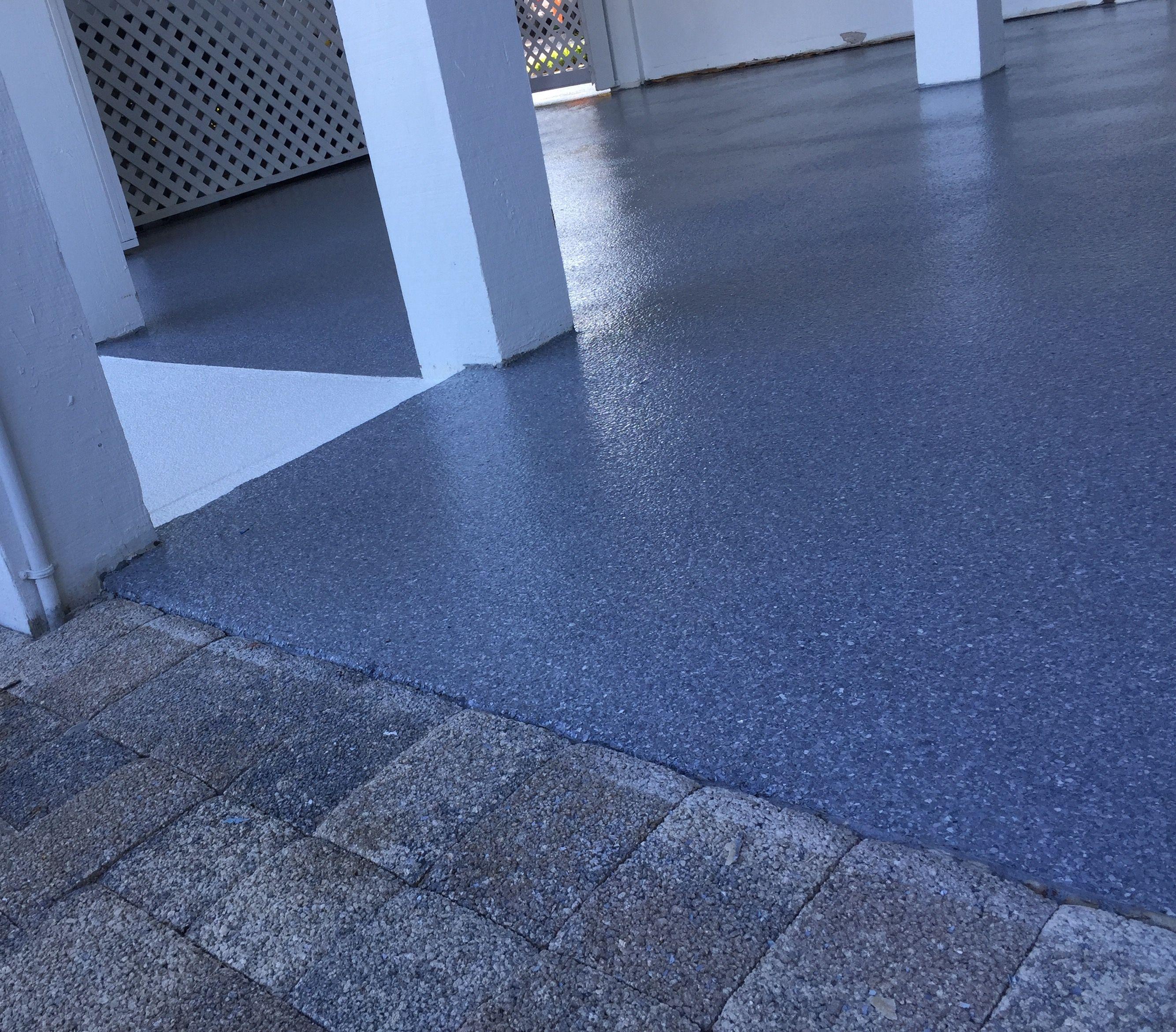 Epoxy Floor Gray Stone Textured Flake Ground Floor Lanai On A Stilt Home On Sanibel Island In Florida Epoxy Floor House On Stilts Stone Texture