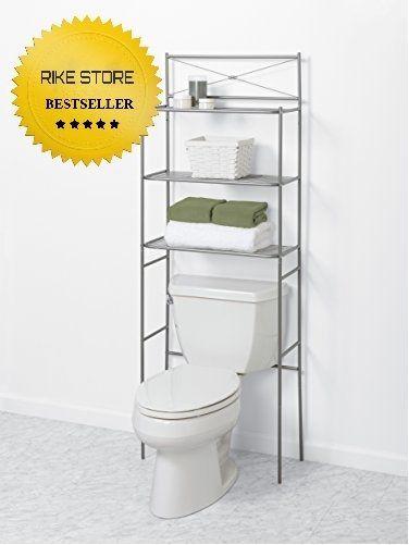 Bathroom Storage Organizer Nickel Metal Over the Rack Toilet Cabinet ...