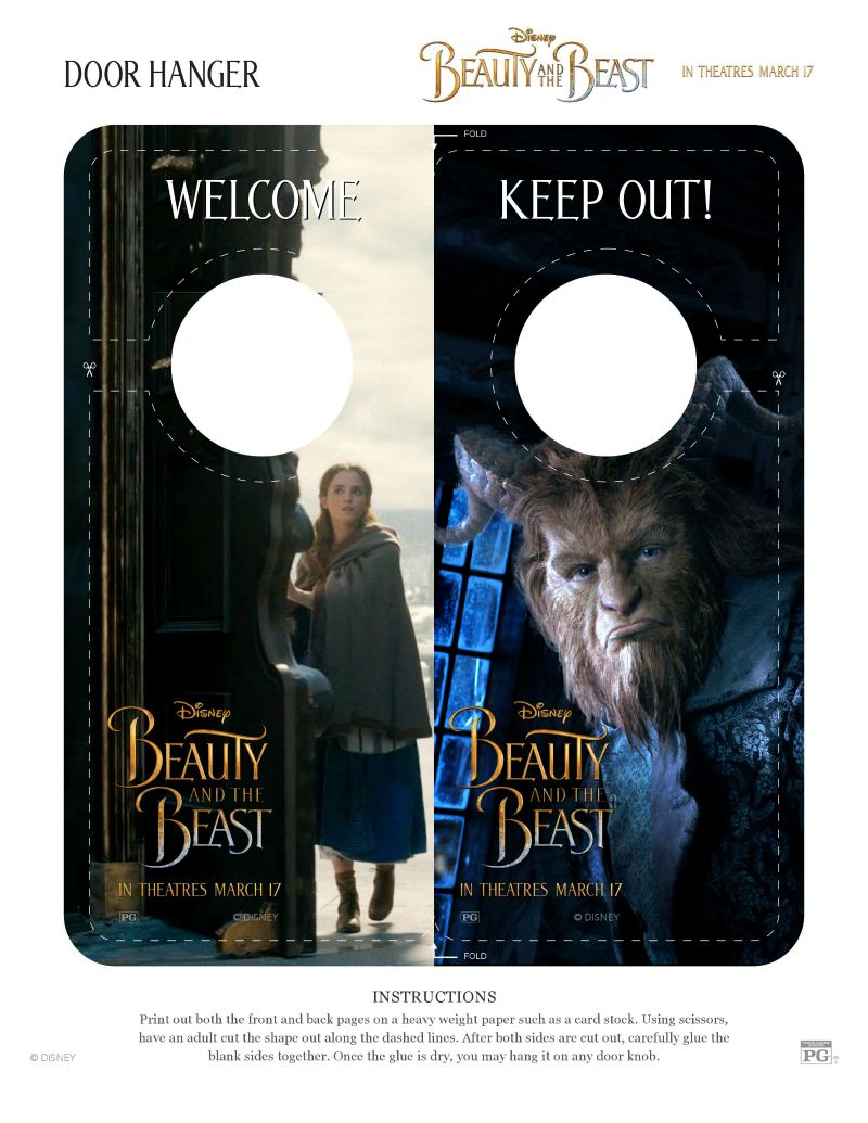 Free Disney Beauty and The Beast Door Hanger Craft | Books and ...