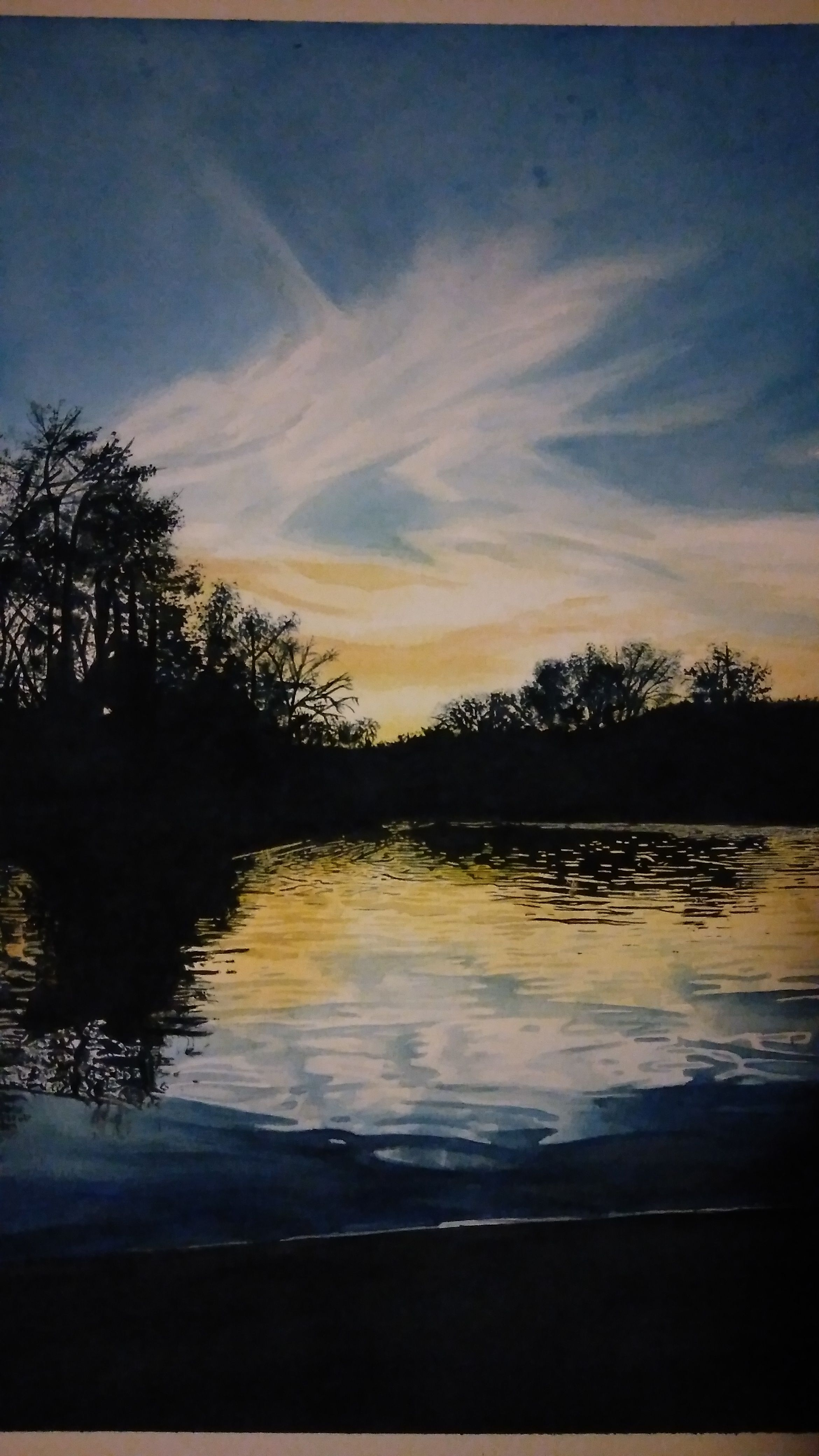 Original painting by Kyrie Davenport, watercolor painting of the frio river in Leakey texas