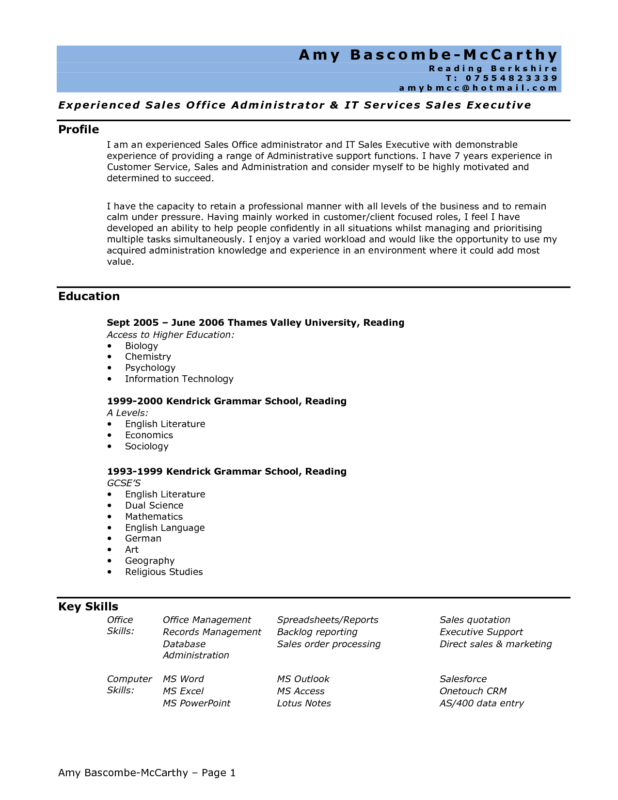 Written administrative assistant resume and cover letter