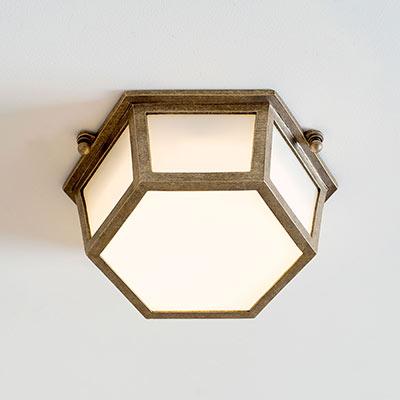 Gladstone Flush Fitting Light In Antiqued Brass In 2020 Bathroom Lighting Vintage Bathroom Lighting Wall Lights