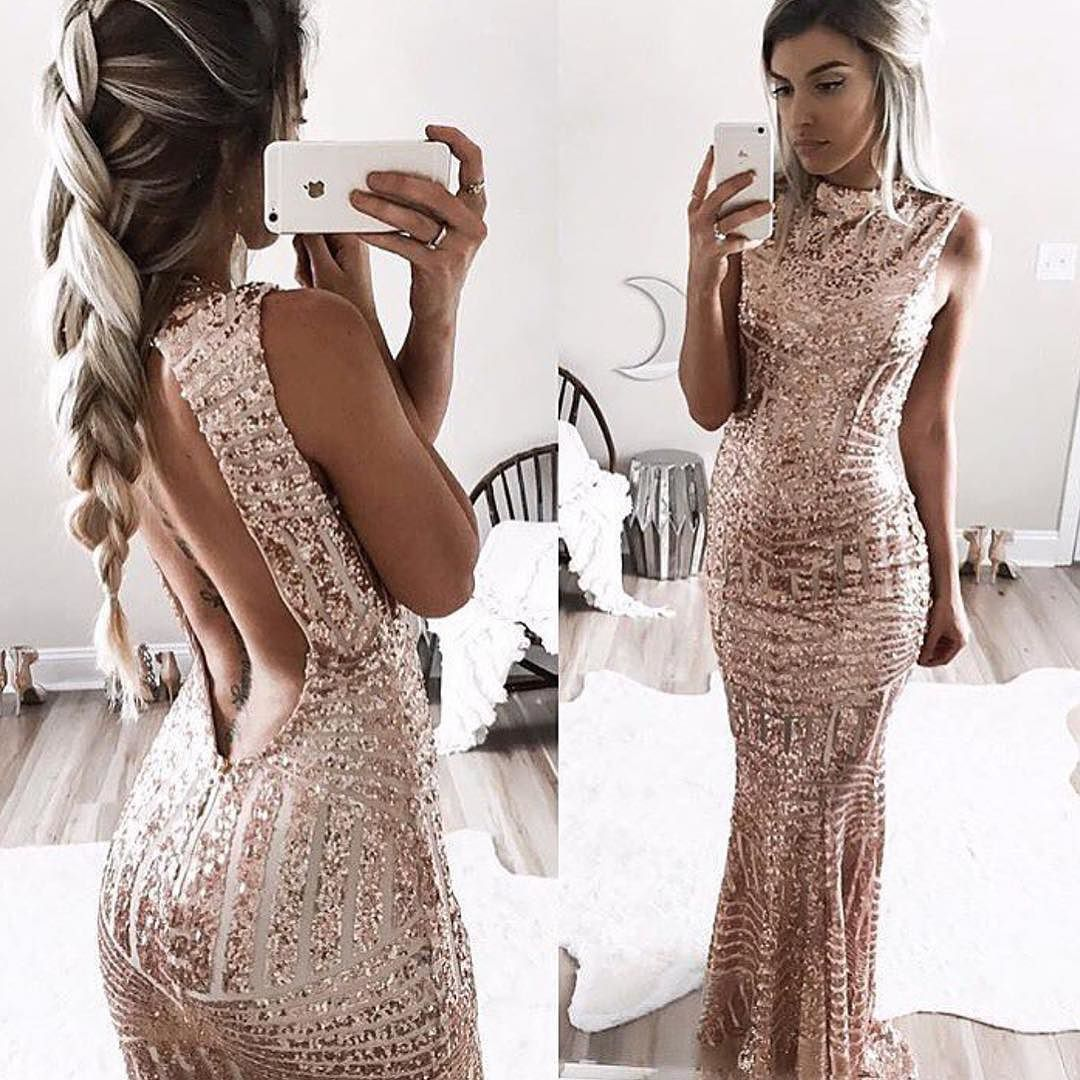 84e02a7f98e46 YARA Rose Gold Open Back Maxi Dress // Also available in BLACK! Use code:  SALE15 at checkout to get 15% OFF your entire order. Shop: emprada.com