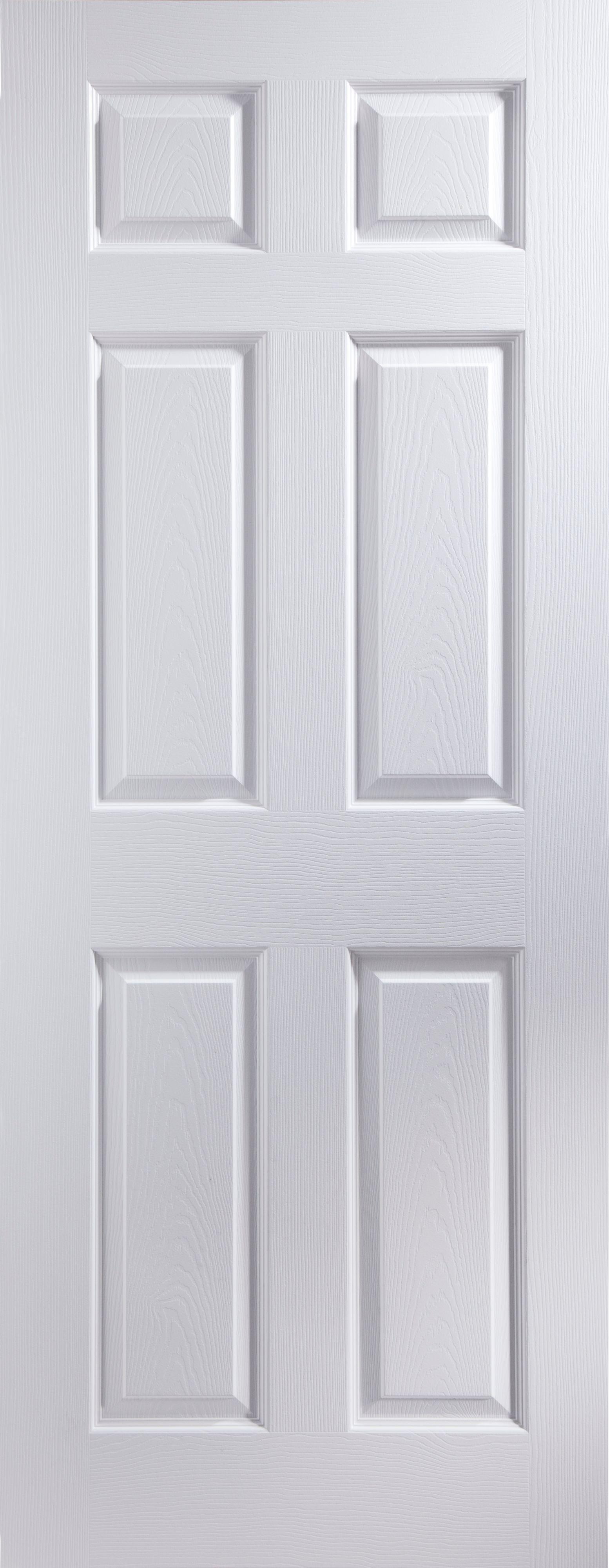 6 Panel Pre Painted White Woodgrain Internal Door H 1981