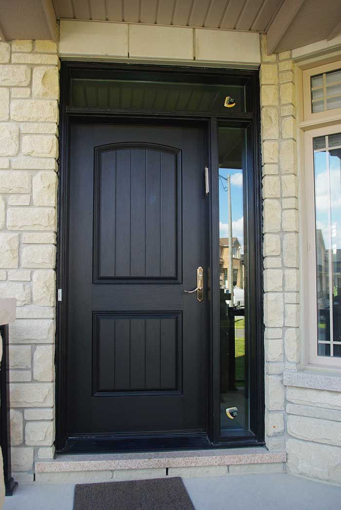 Entry executive fiberglass single solid front door with for Entry door with side windows