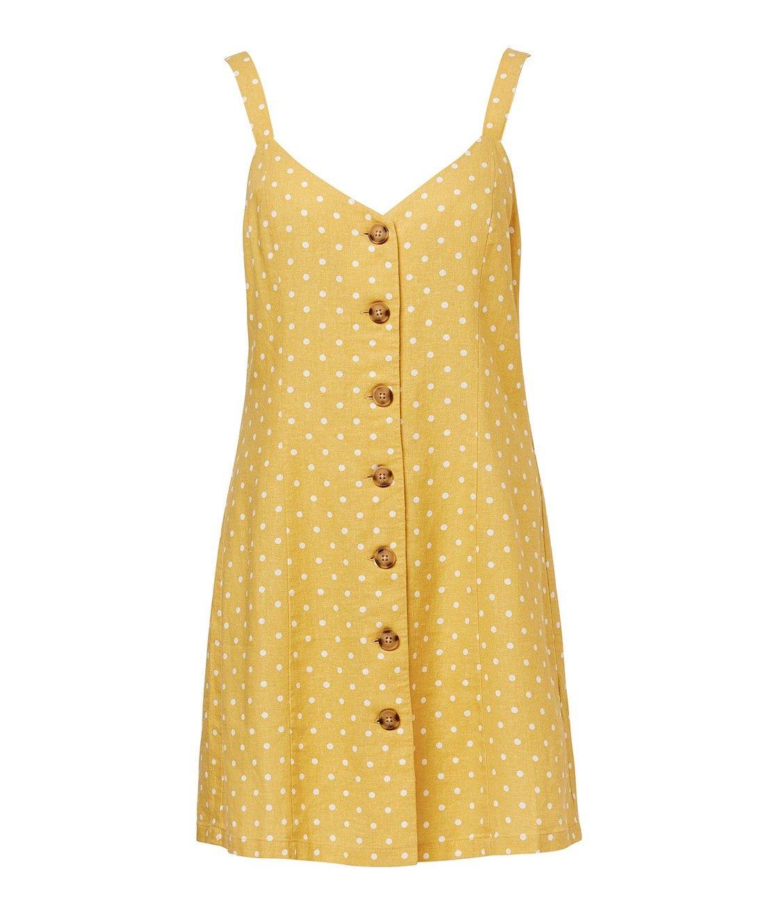 5afb6c12e5c Linen Edit - Spot Linen Button Front Mini Dress - Clothing - Sportsgirl