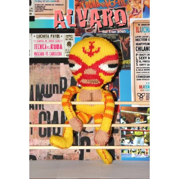 """Alvaro is a Mexican wrestler from the 'Los Mexicanos' collection.He is a 12"""" tall knitted toy to make and comes as a pdf download with chart and knitting instructions."""