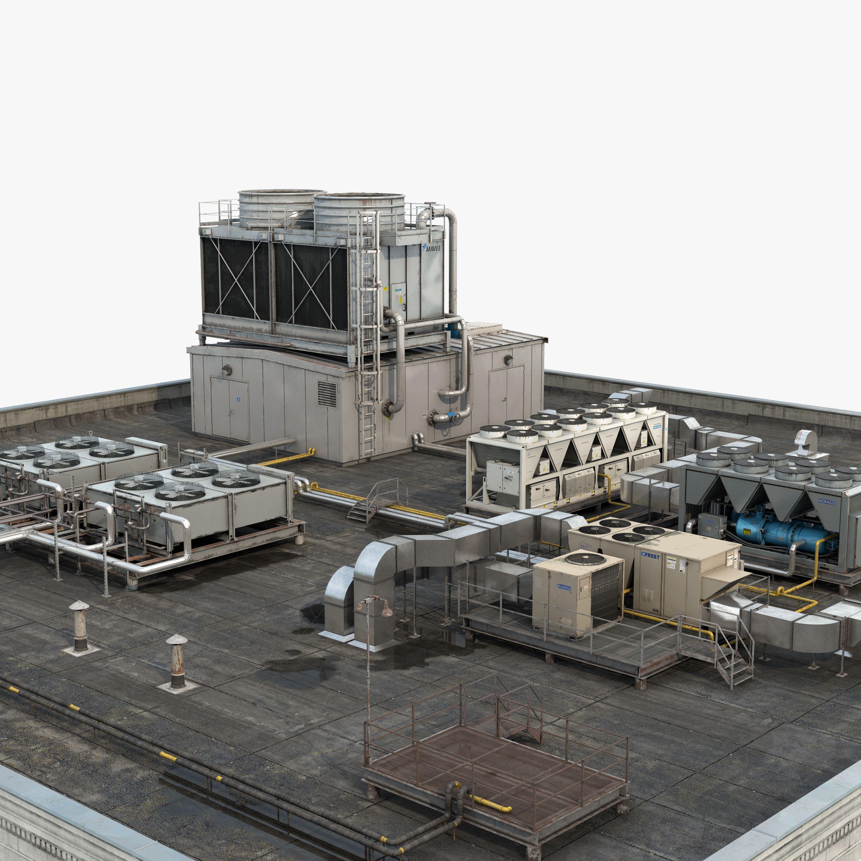 3D Rooftop HVAC system model Hvac system, System model