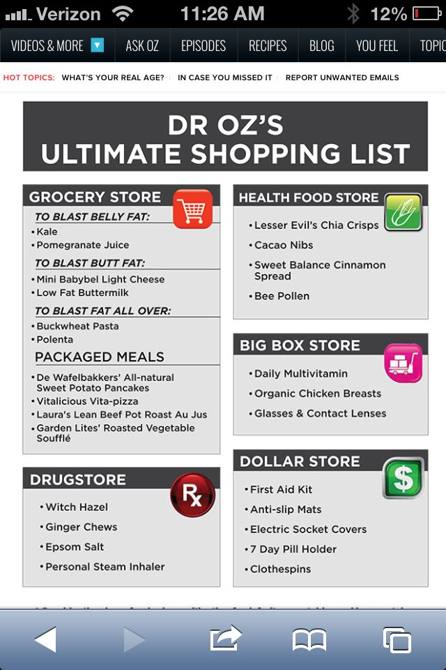 total 10 shopping list