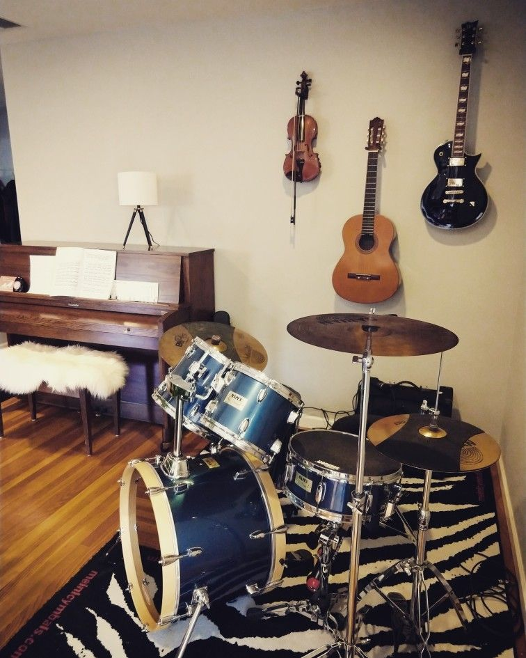 Music Corner In The Living Room Drum Set Piano Guitars Violin Home Music Rooms Piano Living Rooms Drum Room