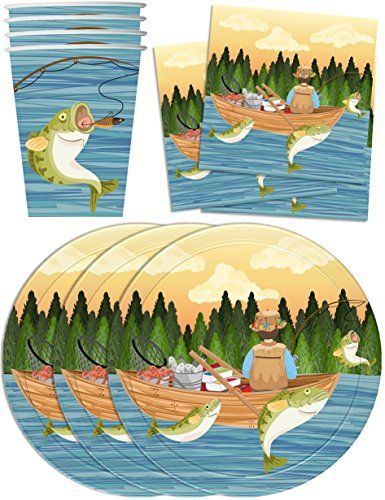 Paper Plates Napkins Cups Gone Fishing Party Supplies for 16 Guests