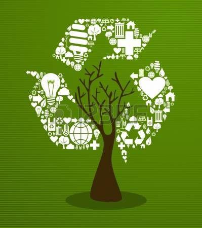 Albero Isolato Eco Friendly Con Illustrazione Di Legno Foglie File