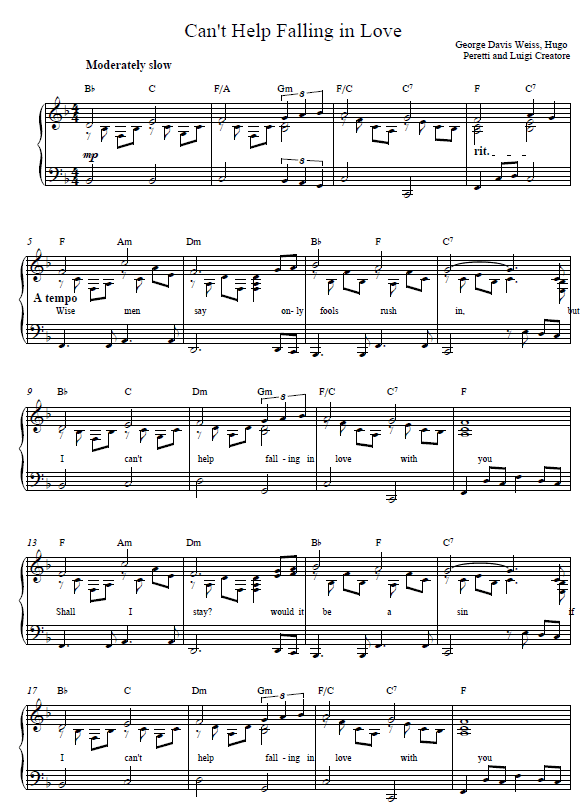 Cant Help Falling In Love Piano Tutorial And Sheet Music Music In