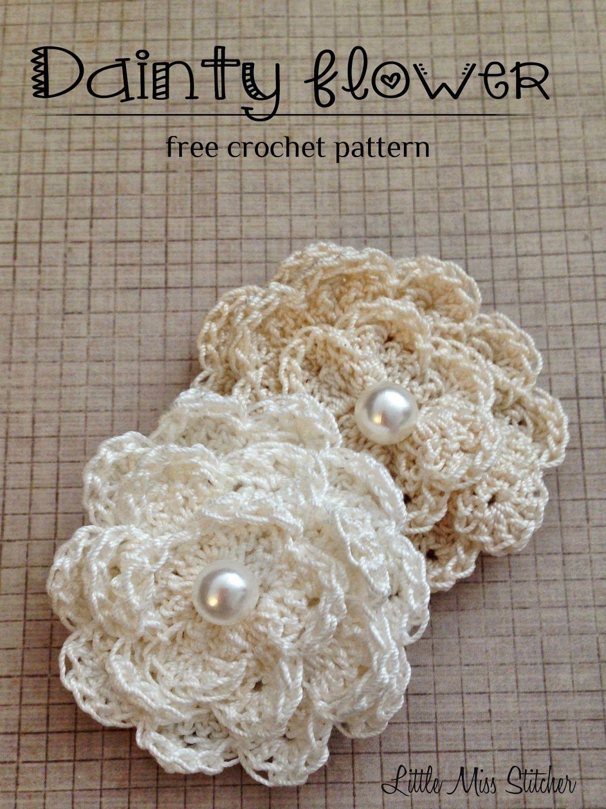 Little Miss Stitcher Dainty Crochet Flower Free Pattern So Many
