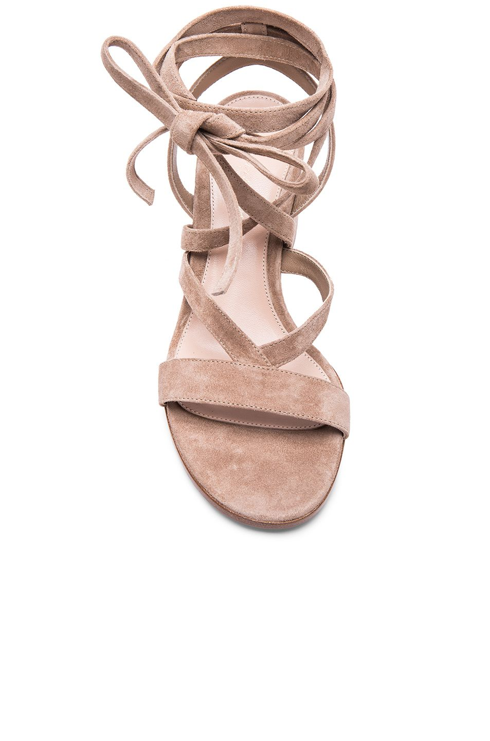 0a9534b0470 Image 4 of Gianvito Rossi Suede Janis Low Sandals in Bisque