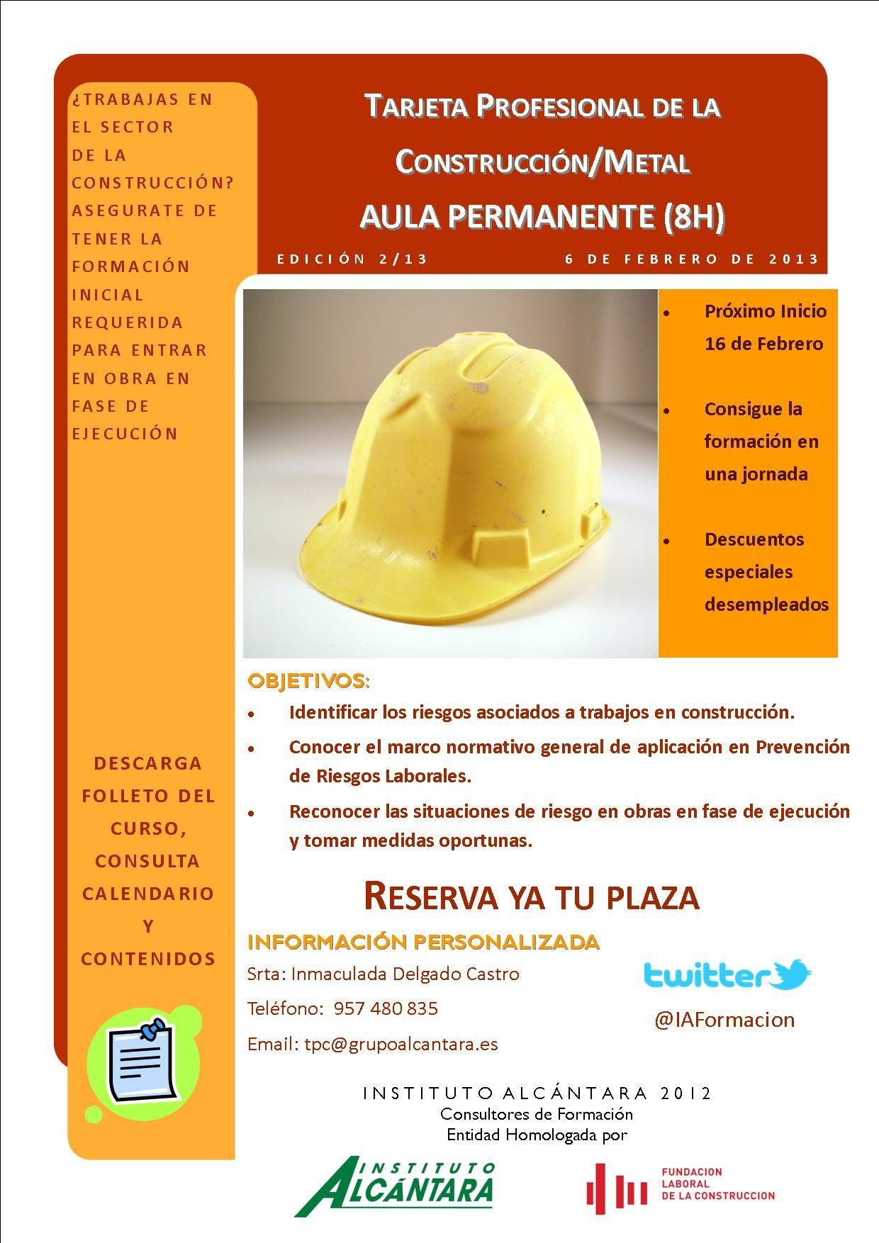 TPC - Nivel Inicial - Aula Permanente (8h) Consigue la formación exigida para trabajar en el sector de la construcción