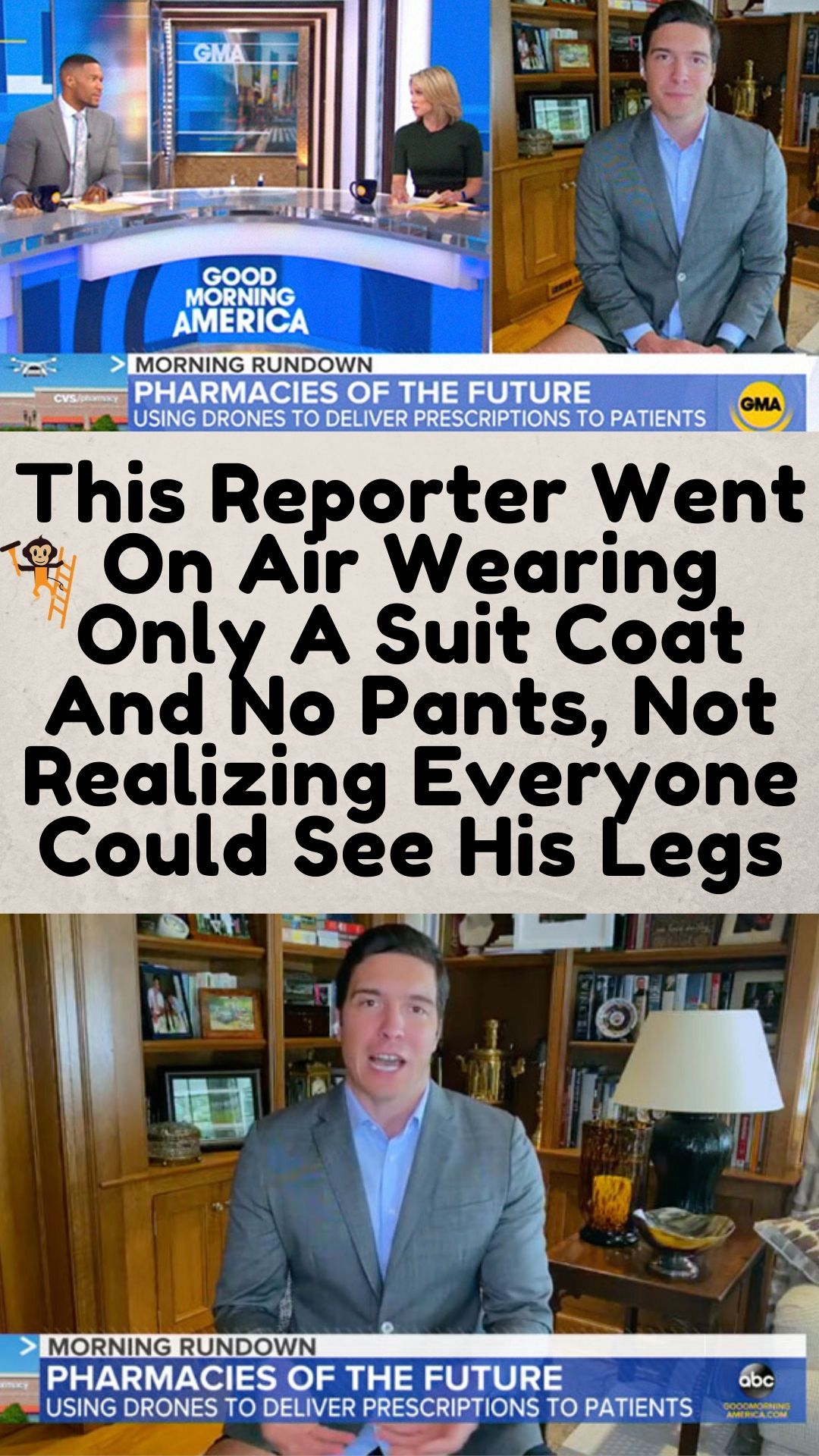 This Reporter Went On Air Wearing Only A Suit Coat And No Pants Not Realizing Everyone Could See His Legs Cheesy Jokes Halloween Quotes Funny Jokes And Riddles