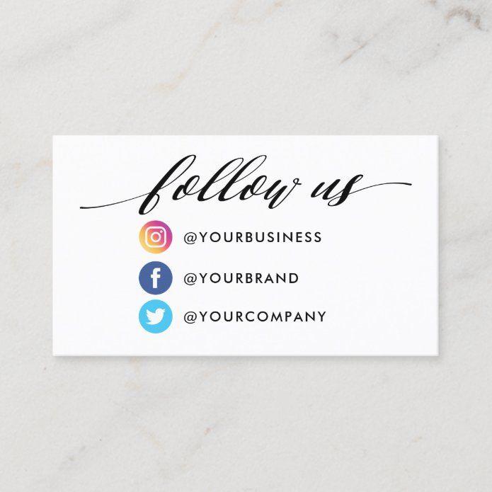 Instagram Facebook Twitter Qr Code Business Card Zazzle Com In 2021 Qr Code Business Card Coding Business Cards