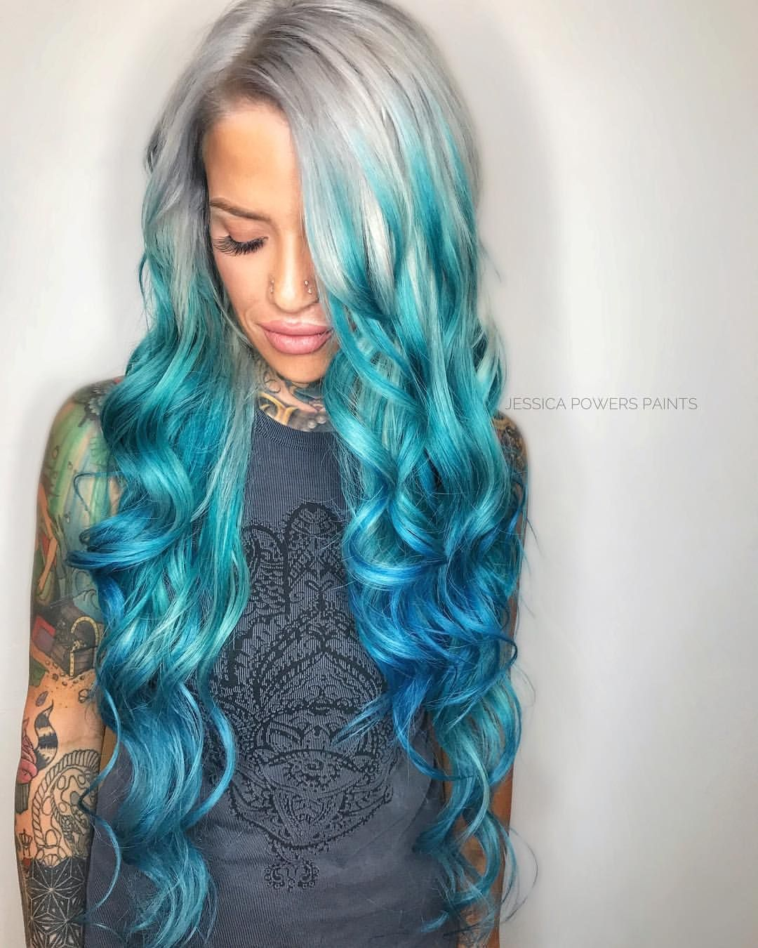 Aqua Balayage Blue Hair Green Hair Ombre Vivids White Blonde