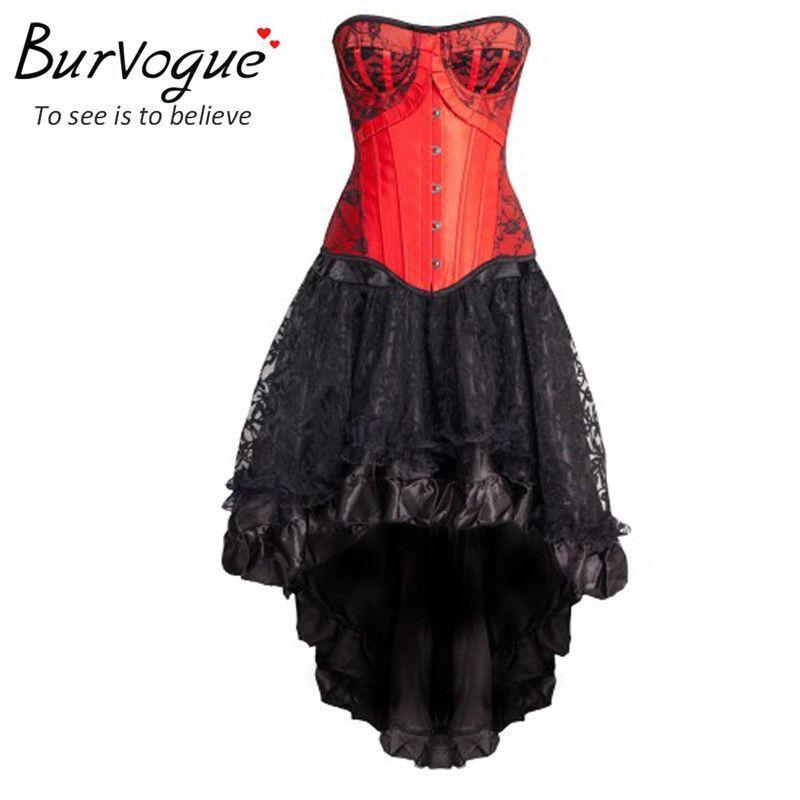 Burvogue 2016 Women Sexy Gothic Corset Dress Waist Control Corsets And Bustier Top Lace Waist Corset Overbust Waist Trainer