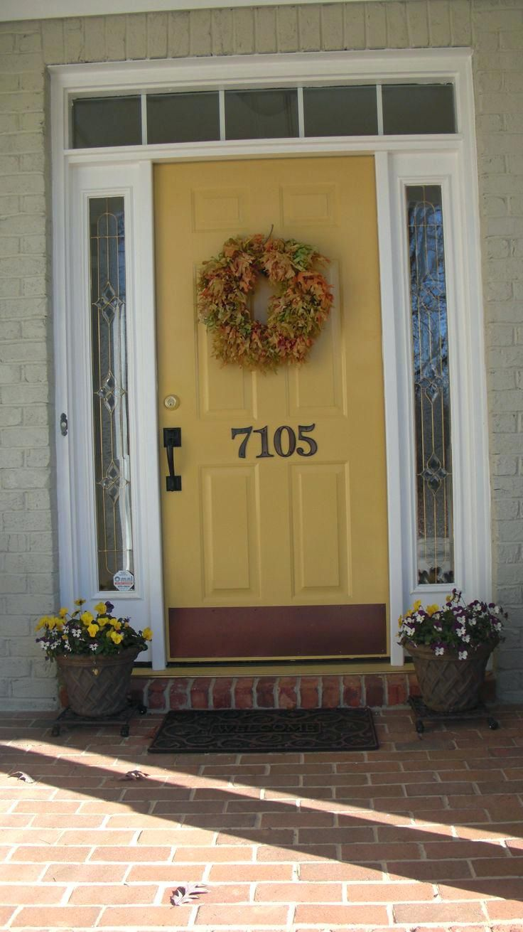 Yellow front door red brick house love the honey yellow - Front door colors for brick houses ...