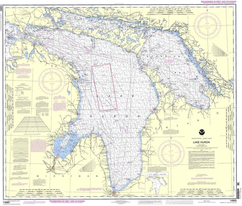 Noaa Nautical Chart 14860 Lake Huron Products Lake Huron Nautical Chart Nautical