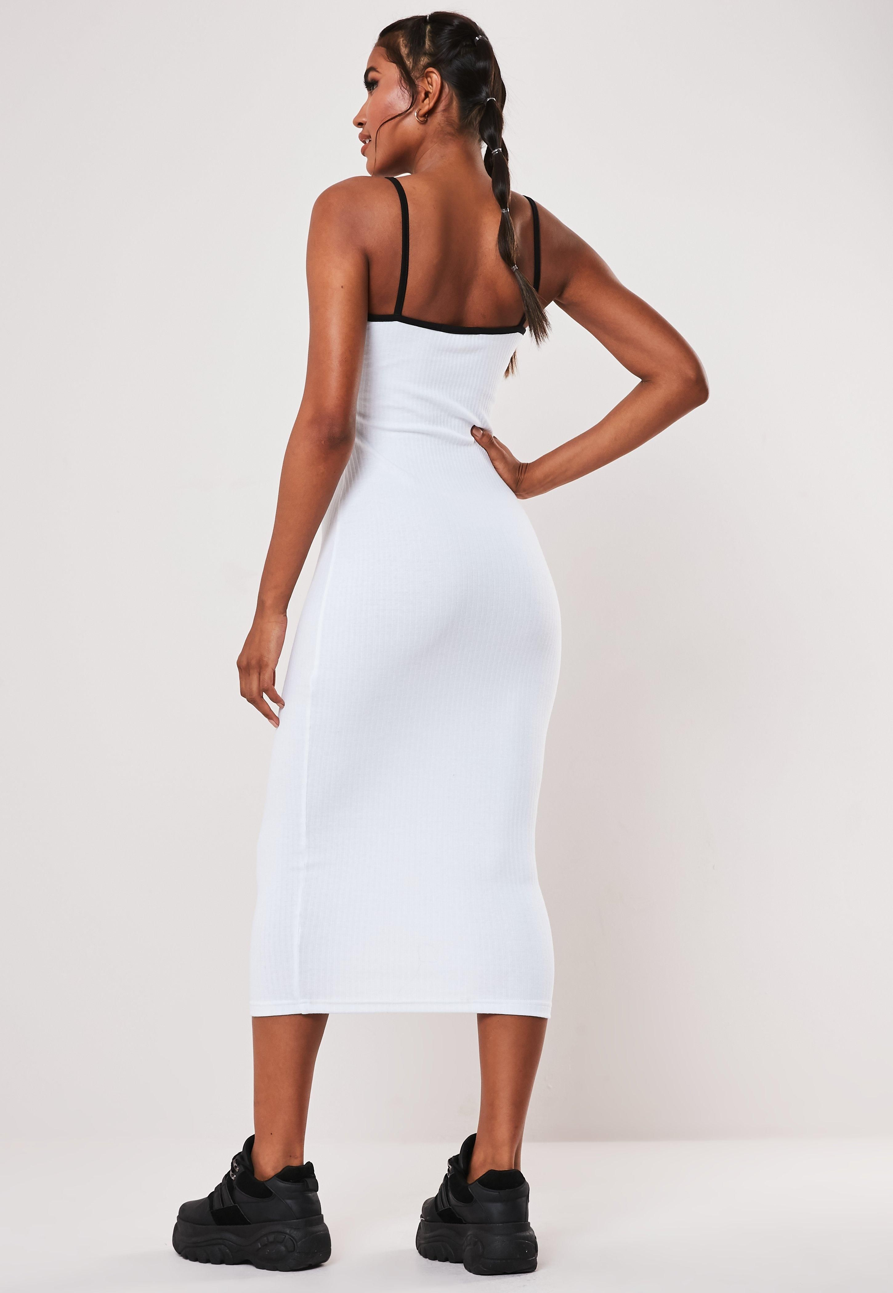 White Ribbed Contrast Piping Bodycon Midaxi Dress Sponsored Contrast Ad Ribbed White Dresses Dress Drop Strappy Midi Dress [ 4200 x 2900 Pixel ]