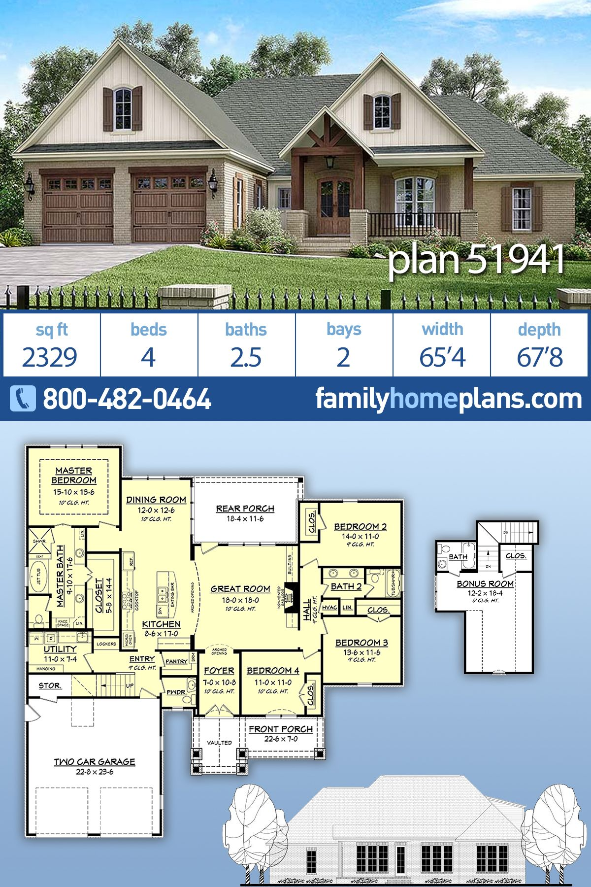 Traditional Style House Plan 51941 With 4 Bed 3 Bath 2 Car