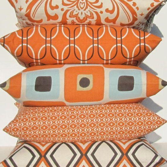 Orange Pillows Decorative Throw Pillow cushion sham Cover 26x26 Euro sweet potato orange same fabric front / back FREE SHIP on Etsy, $30.00