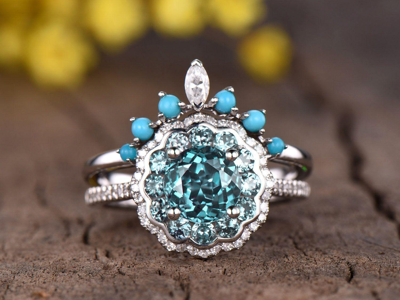 Alexandrite Ring Diamond Floral Engagement Ring Set