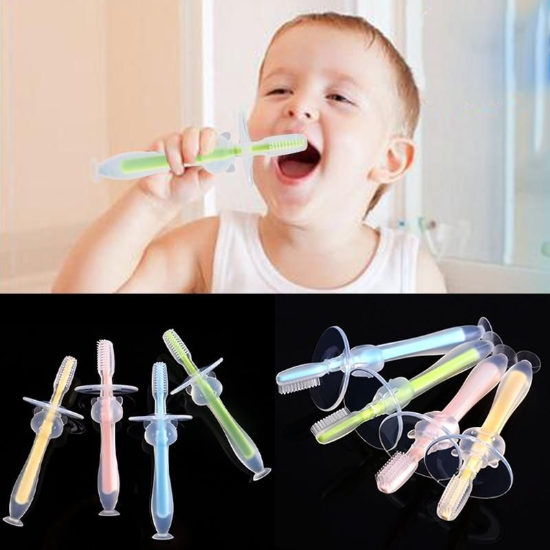 Baby Infants Kids Soft Safe Bendable Teether Training Mitten Teething Toothbrush Brush Dental Care DropShip #dentalcare