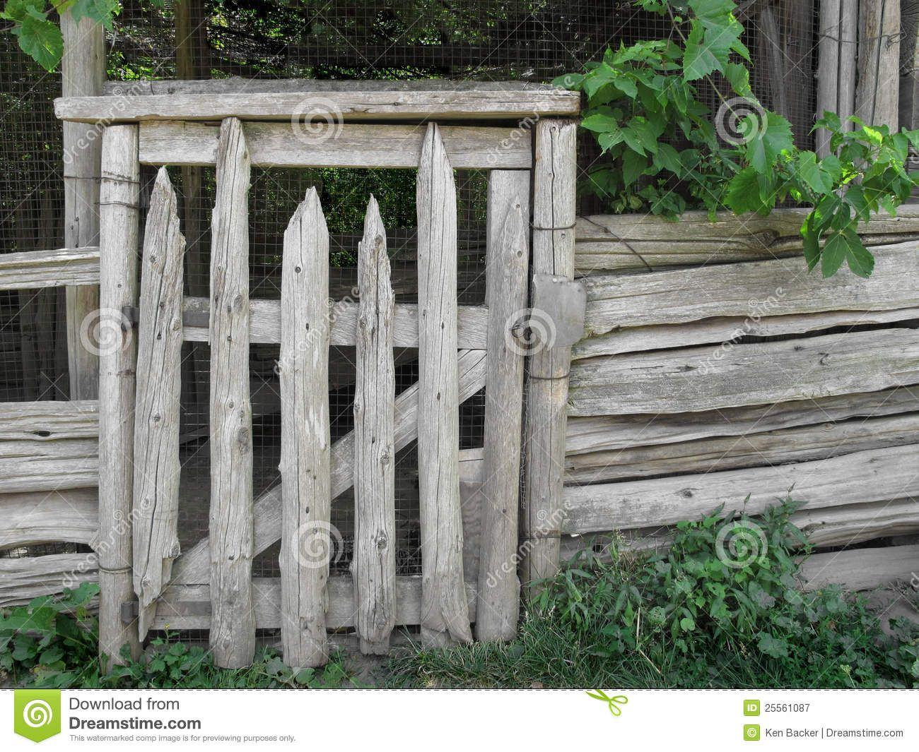 Rustic Wood Gates Old Gray Weathered Rustic Wood Post Gate In A