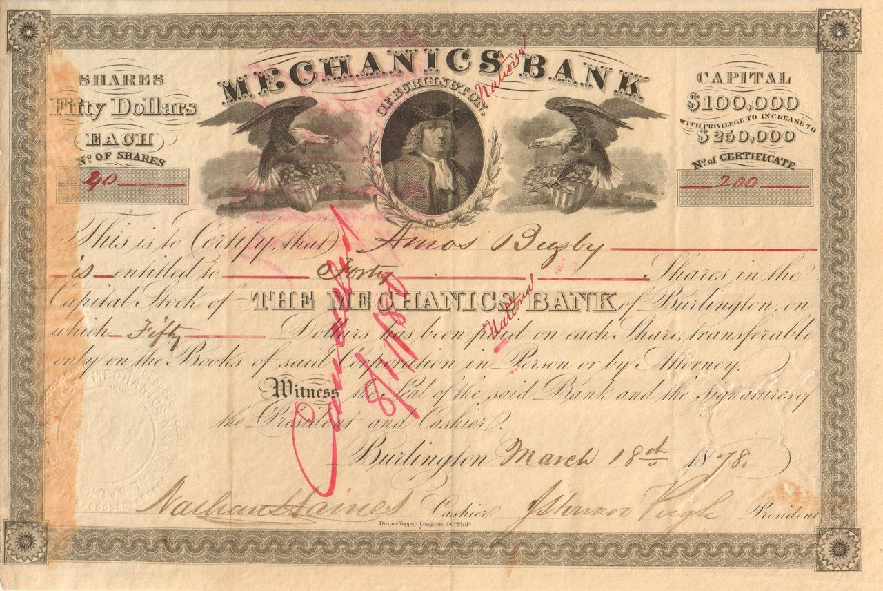 Mechanics Bank Of Burlington 1878 New Jersey Stock Certificates Burlington Mechanic