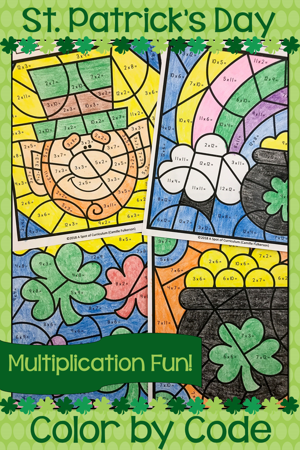 St. Patrick\'s Day Math Color by Number Multiplication   Fun math ...