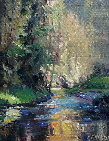 Impressionist Waterfall Oil Paintings Summer