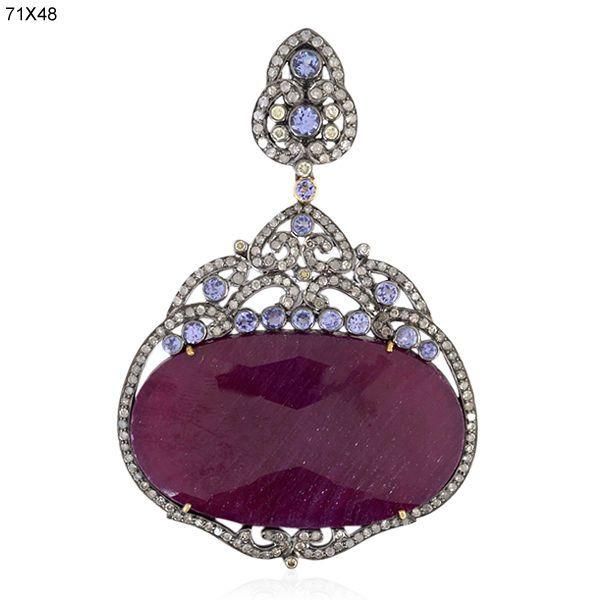 18k Gold Ruby Tanzanite Diamond Pendant 925 Sterling Silver Handmade Jewelry #Handmade #Pendant $2,256.00!!!