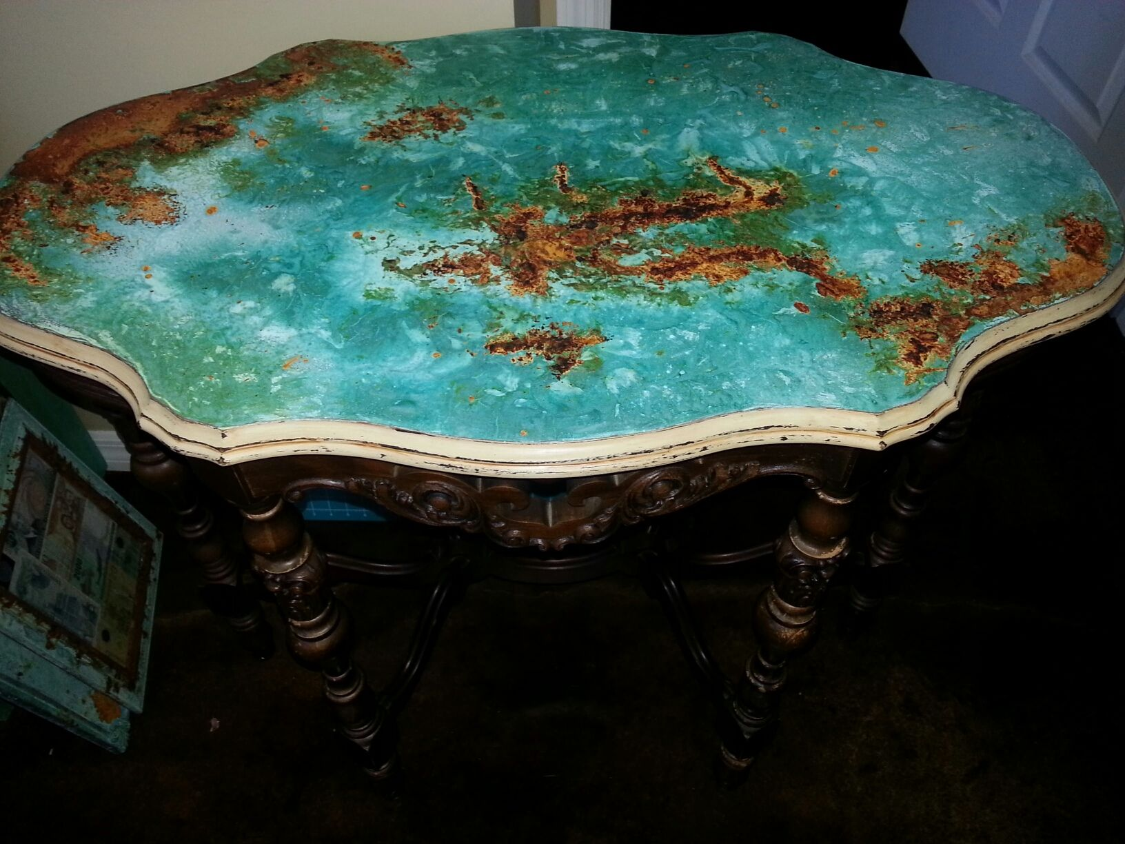 Copper Rust Patina Table Top With Modern Master Metal