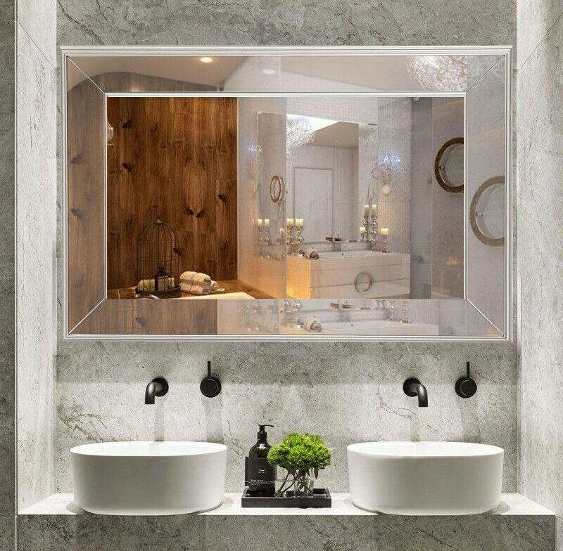 Bathroom Vanity Wall Mirror Framed Deep Bevel 30x20 Wood Bedroom