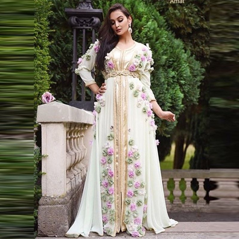 Moslim Lange Mouwen Avondjurk Bloemen Engagement Robe Dubai