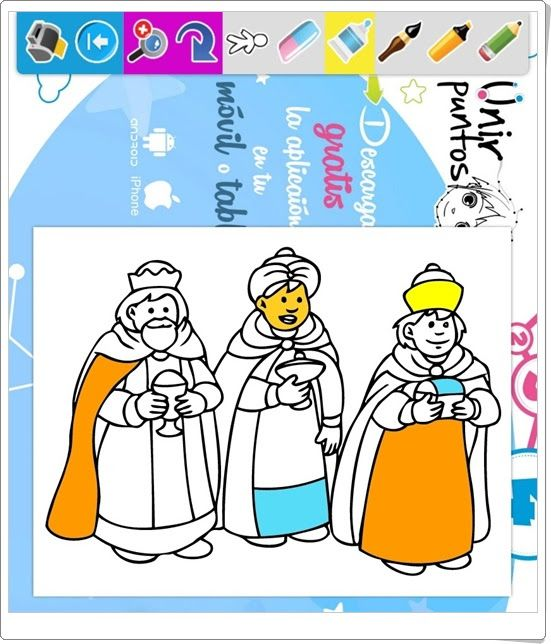 Los Reyes Magos para colorear e imprimir (Es.hellokids.com) | La ...