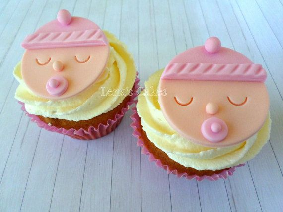 Baby Cupcake Fondant Edibletoppers Baby Girl Shower Edible