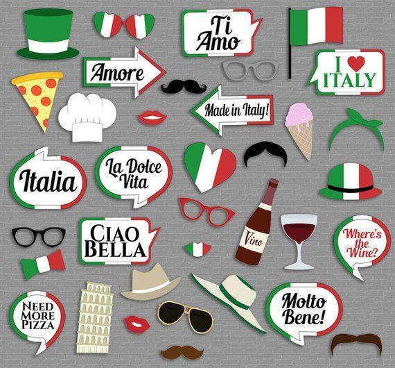 35 Italian Photo Booth Props Italy Themed Party Props Love Rome Party Italia Photobooth Sign Italian Flag Pizza Props Download It1 Fotobudka Impreza